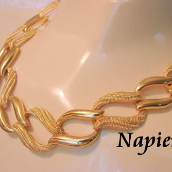 80s Vintage Napier Necklace / Designer Signed / Retro Modernist / Textured & Smooth Gold Finish / Jewelry / Jewellry