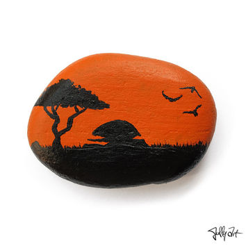 Sunset flying birds, Orange, nature silhouette, Handmade painted rock, art pebble stone, gift idea