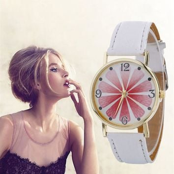 GENVIVIA New Unique Design Creative Mineral Stylish Quartz Women Watch Leather Strap Belt Table Watch orologi donna