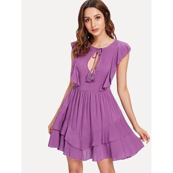 Keyhole Tassel Tie Neck Layered Ruffle Dress