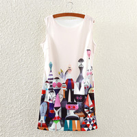 Summer Women's Fashion Round-neck Cartoons Slim Sleeveless Vest One Piece Dress [4919365124]
