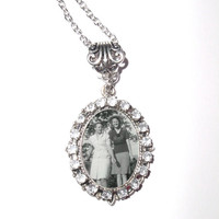 "Personalized Memorial Photo Pendant Necklace Antiqued Silver Crystal Charm with 20"" Chain - FREE SHIPPING"
