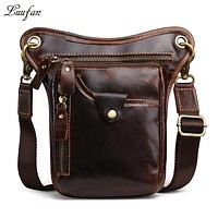Men's vintage crazy horse leather shoulder bag Phone waist pack Casual Cow leather messenger bag Cowhide Phone Purse travel bag