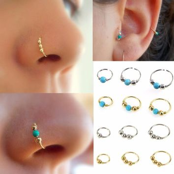 3Pcs/Set Retro Round Beads Nose Stud Earrings Nostril Hoop Body Piercing Jewelry 6mm/8mm/10mm #248359