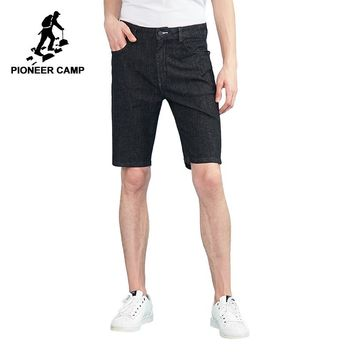 Pioneer camp new denim shorts for men brand clothing fashion solid jean shorts men thin summer bermuda male black ANZ803127