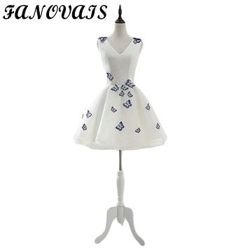 White and Blue Butterfly Short Cocktail Dresses Mini Formal Party Gowns Satin V Neck Special Occasion Dresses Robe de soiree