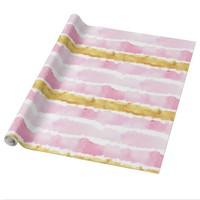 Pink and Gold Hand Painted Watercolor Stripes Wrapping Paper