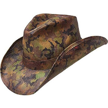 Peter Grimm Ltd Men's Scout Camo Print Straw Cowboy Hat Green One Size