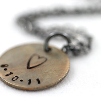 Special date necklace, Sterling Silver chain, Mixed metals necklace, Oxidized jewelry, Custom date, Brass pendant