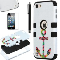 ULAK Hybrid Hard Pattern with Silicon Case Cover for Apple iPod Touch 5 Generation with Screen Protector and Stylus (Black / Colorful Anchor)
