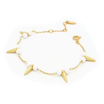 "Fronay Co Bullets & Pearls Gold Plated Sterling Silver Bracelet for Women, 6"" + 2"""