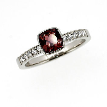 Cushion cut garnet engagement ring, diamond engagement, red engagement, bezel, gold, square, milgrain, garnet solitaire, unique garnet