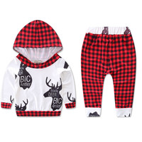 2PCS XMAS RED Boy Kids Toddler Baby Long Top Hoody Plaid Pants Trousers Set Tracksuits Clothes