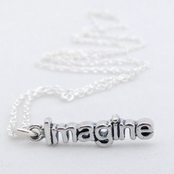 Imagine Necklace, 925 Sterling silver Intention Charm and chain, Inspiring word, Statement bracelet, Christmas stocking