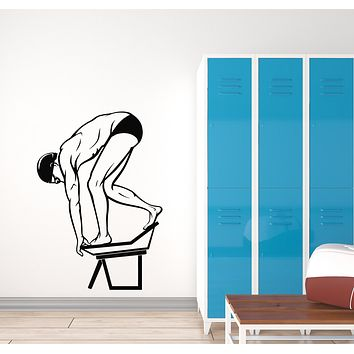 Vinyl Wall Decal Water Sport Swimmer Boy Jump Swimming Pool Stickers Mural (g1247)