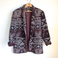 Vtg Womens Southwestern Jacket Brown // Boho Hippie 90s Navajo Print Coat // Womens Jacket Size Small Medium