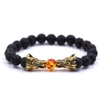 Black Lava Natural Stone Gold Color Dragon strand Bracelet Femme Ethnic handmade Beads Bracelets Turkish Men Jewelry Pulseras