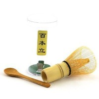 1x BambooMN Brand - Chasen (Green Tea Whisk) + Small Scoop for preparing Matcha + Tea Spoon