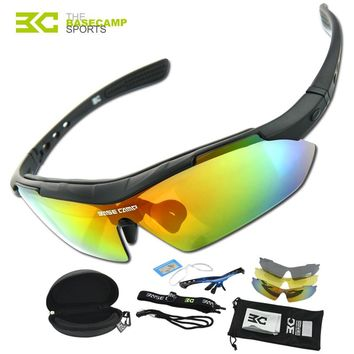 BASECAMP Cycling Glasses Polarized UV400 Men 3 Lens Outdoor Sport Mountain Road Bicycle MTB Running Fishing Sunglasses