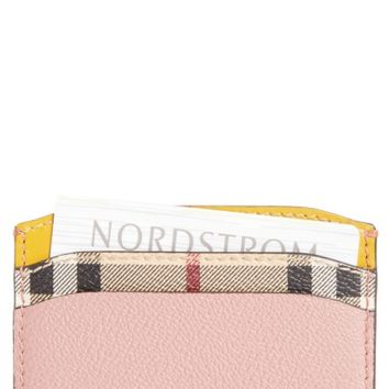 Burberry Izzy Check & Leather Card Case | Nordstrom