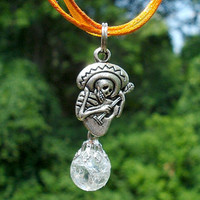 Mexican Guitar Skeleton Crystal Day of the Dead Orange Halloween Necklace