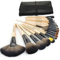 Brand New 24 pcs/set Makeup Brush Cosmetic set Kit Packed in high quality Leather Case - Light Yellow