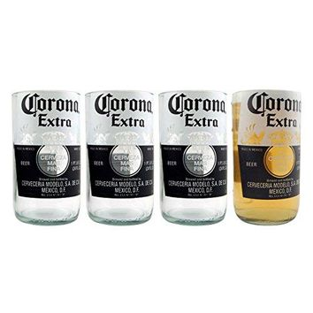 Corona Extra Recycled Beer Bottle Drinking Glass - 10 oz - Set of 4 Glasses