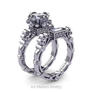 Art Masters Caravaggio 14K White Gold 1.5 Ct Princess White Sapphire Diamond Engagement Ring Wedding Band Set R627S-14KWGDWS
