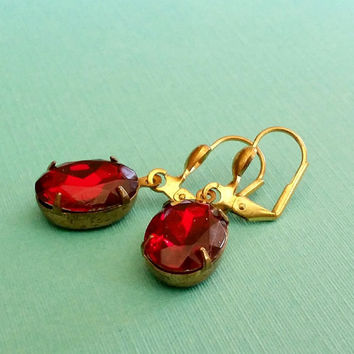 Ruby Red Earrings, July Birthstone, Dangle, gift for her, Vintage Red Rhinestone, Under 20, Antiqued Bronze, Jewelry, Jewellery, Elegant Red