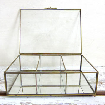 vintage glass Box with brass. Jewelry Box - Curio Case with flower top and mirror bottom
