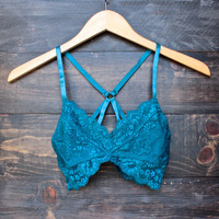 all over lace scallop racerback bralette - teal