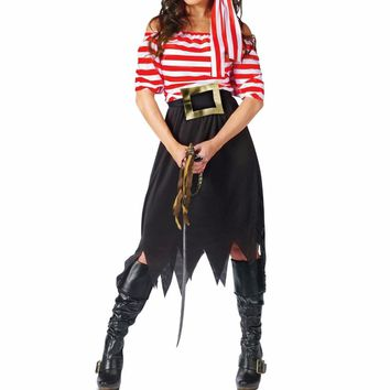 Women Pirate Costume Girl Crew Costume Halloween Costumes Pirate Cosplay Short Sleeve Striped Party Dress Skirts for Lady