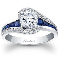 "Barkev's Blue Sapphire ""Halo Swirl"" Diamond Engagement Ring"