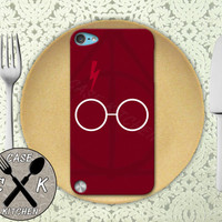 Harry Potter Glasses And Deathly Hallows Symbol Red Custom Rubber Case iPod 5th Generation and Plastic Case For The iPod 4th Generation