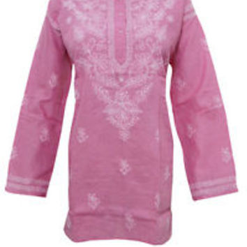 WOMEN'S TUNIC TOP INDIAN PINK KURTA EMBROIDERED LUCKNOWI COTTON BLOUSE/KURTA XI