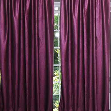 "Moroccan Curtain Purple Sari Curtain / Drape / Panel India Window Treatment (Length:84"")"