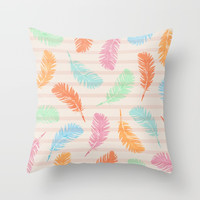 Dancing summer feathers Throw Pillow by juliagrifoldesigns