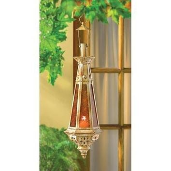 Moroccan Amber Spire Candle Lantern