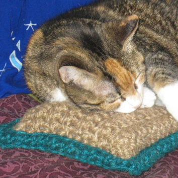 Handmade JUTE Accent Pillow or CAT Toy Natural and Hypoallergenic 7 x 7