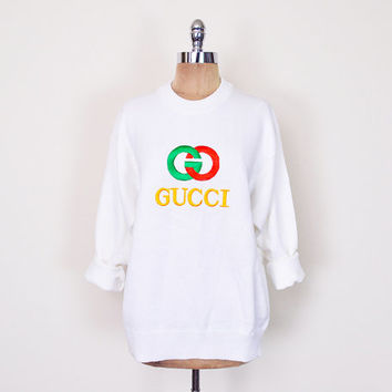75bb77e2f61 Vintage 80s 90s White Gucci Sweater Jumper Top Gucci Logo GG Logo Oversize  Sweater Slouchy Sweater