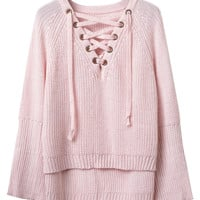 Pink V-Neck Lace Up Front Flared Sleeve Knit Jumper