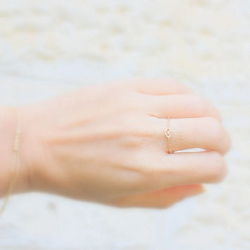 Tiny Heart Ring - 14k gold filled chain with a Tiny gold  Heart , gold ring,14k gold filled ring, Minimum Jewelry, everyday,simple gold rin