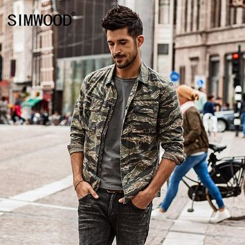SIMWOOD Autumn Autumn  New Camouflage jackets men military pocket army tactical denim slim fit plus size high quality NK017012