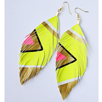 Neon Aztec Butter Yellow Faux Leather Feather by lovesexton