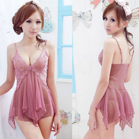 New Womens Lady Sexy Lingerie Nightgown Sleepwear Set Babydoll Dress +G-string u