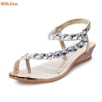 High quality Woman Summer Sandals Rhinestone Flats Platform Wedges Shoes Flip Flops