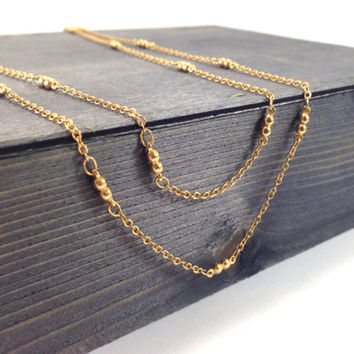 18K Gold Satellite Necklace, 3 in 1, Thin Delicate Necklace, Layering necklace, Long necklace, delicate gold necklace, gold chain necklace