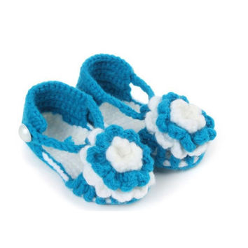 Amazing Infant Newborn Baby Flower Knitting Lace Crochet Buckle Sandal Shoes Summer May 11