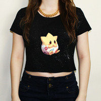 Cute Togepi Pokemon Inspired Kawaii Black Crop Top T Shirt Tee Festival Emo Hipster Fairykei