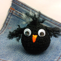 Amigurumi crochet Crow toy plushie. Adorable crow